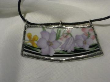 Broken China Pendant - Spring Flowers