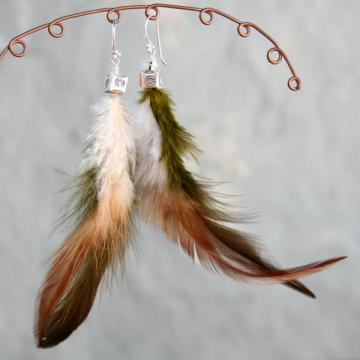 Brown, Green and White Feather and Silver Earrings