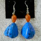 Dyed  turquoise   nuggets   and  orange  aventurine  dangle  earrings