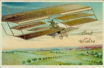 Antique Postcard Bi Plane Airplane Best Wishes 1910s Germany