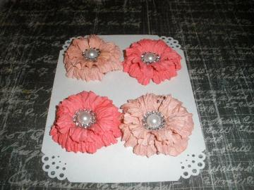 Peach/Melon Sweet Sugar Blossoms-Handmade Paper Flowers