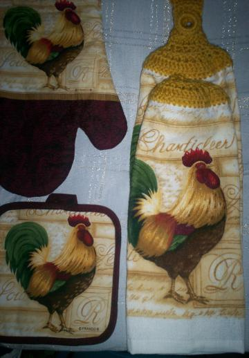 Proud Rooster Design Kitchen Hanging Towel Set 4pc