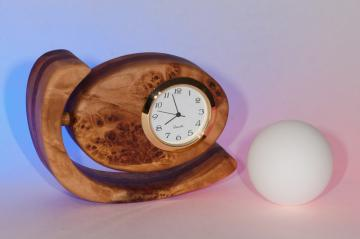 Small Wood Desk / Mantel Clock, Egg Shaped, Maple Burl