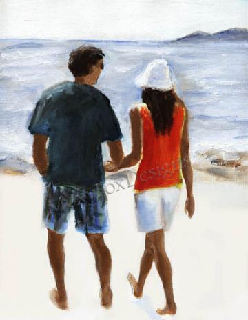 Art -- SUMMER BREEZE, Portrait Fine Art Print Beach Shorline Couple Walking Lovers Holding Hands