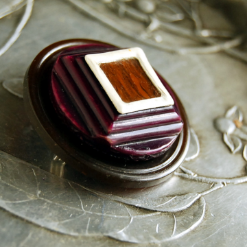 Plum Truffle Vintage Button Brooch
