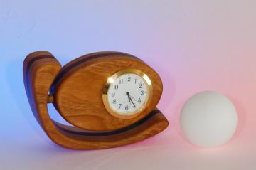 Small Wood Desk / Mantel Clock, Egg Shaped, Cherry