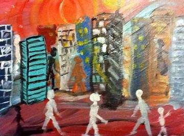 abstract painting - A Walk in the City