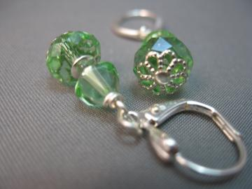 Beautiful Silver and Green Crystal Dangle Earrings