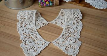 27mx8cm cotton venise lace applique trim 2pcs no 10748  colour:beige
