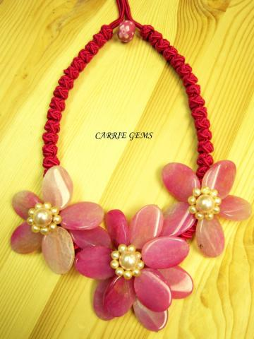 Pink Agate Flower with Chinese Handmade Knots Necklace