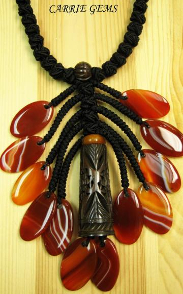 Cow Bone and Carnelian Necklace