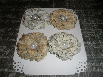 Vintage Music Note & Script Sweet Sugar Blossoms-Handmade Paper Flowers