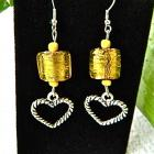 Yellow  foil  glass  and  hearts  dangle  earrings