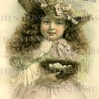 DIGITAL Scan Edwardian Girl with BIRD'S NEST eggs French Postcard