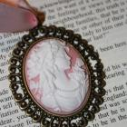 Oversized Pink Cameo - Jane Austen Regency Necklace - Pride and Prejudice, Emma, or Sense and Sensibility