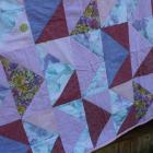 Pink Lap Quilt - random triangles and some vintage fabrics