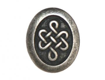3 Celtic Oval Metal Shank Buttons 3/4 inch ( 20 mm ) Color: Antique Silver