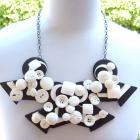 Art Deco Mod Black and White Hand made Necklace