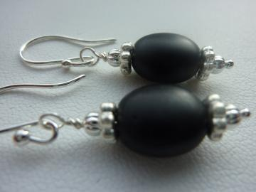 Silver  and Black Beaded Earrings, Espresso Bean Bead in Flat Black