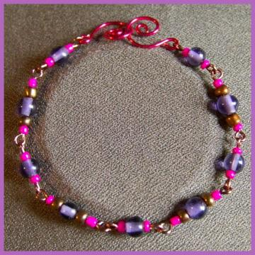 Pink Purple and Bronze Bracelet