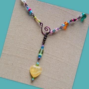 Black Fiesta Heart Lariat Necklace