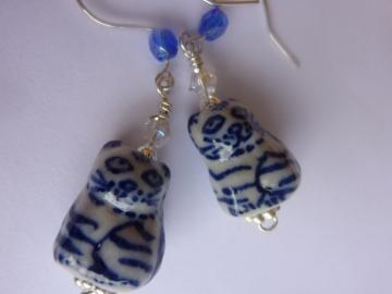 Cat Earrings - Ceramic Blue and White Oriental Print - Animal Jewelry