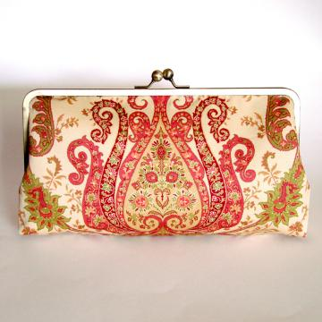 Large Kisslock Frame Clutch Silk Lined Damask