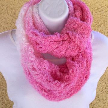 Infinity Scarf, crocheted in Pink and White boucle yarn