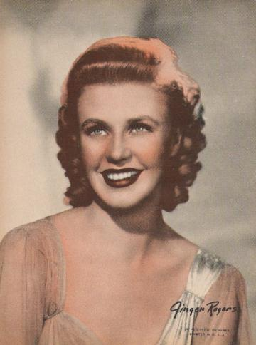 Vintage Sepiatone Print of Classic Movie Star Ginger Rogers