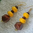 Brown  jasper  and  yellow  rondelles  dangle  earrings