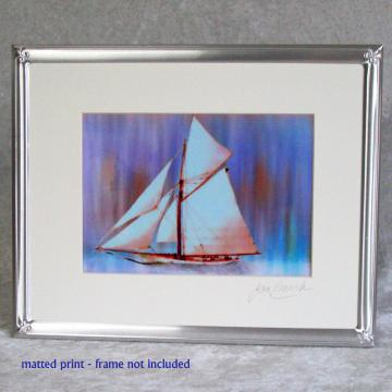 Dusky Sails Photoprint, 5x7 print matted to  8x10 inches overall
