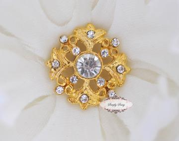 RD43 Clear on Gold  Rhinestone Vintage Inspired Flatback Embellishments Buttons ~ Gorgeous ~ add to flowers, invitations, frames, accessories ~ WHERE EVER!