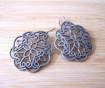 Pewter Petals Filligree Charm Earrings