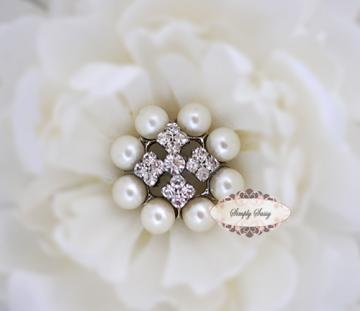RD177C PEARL & RHINESTONE Embellishment Buttons - Add to flowers, invitations, frames, accessories ~ WHERE EVER!