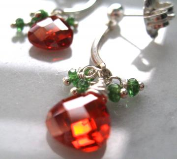 Emerald and Fire Orange crystal post earrings, sterling silver dangle, heart shaped briolette with 5 genuine emerald rondelles