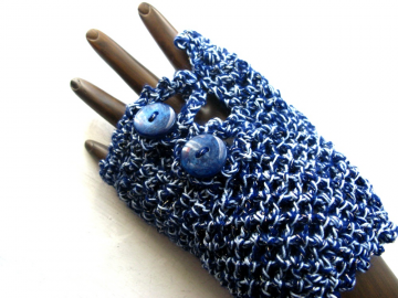 blue handmade arm warmers