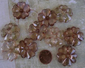 Acrylic flower beads, tea mix