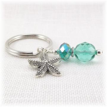 Teal Beaded Starfish Key Ring
