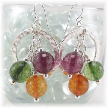 Silver Circle Beaded Dangle Earrings