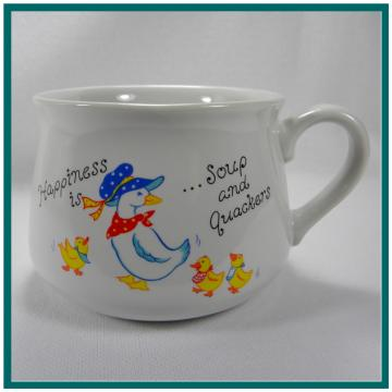Soup Mug - Soup and Quackers - Ceramic Soup Bowl - Vintage 1988 - MaMa Duck and Baby Ducks