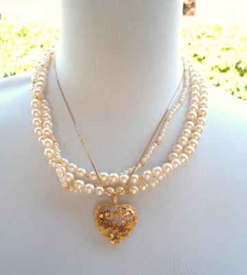 Old Heart and Creamy Beads Recycled Vintage Necklace