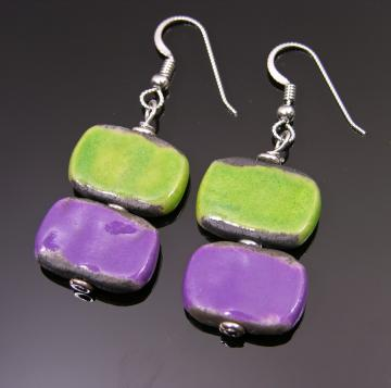 Grape + lime summertime Raku earrings