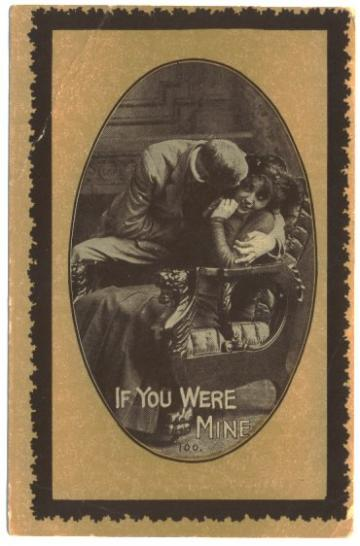 Vintage 1910s Romance Postcard Man Woman in Chair Hugging Card 100