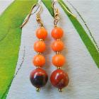 Orange  jade  and  brown  jasper  dangle  earrings