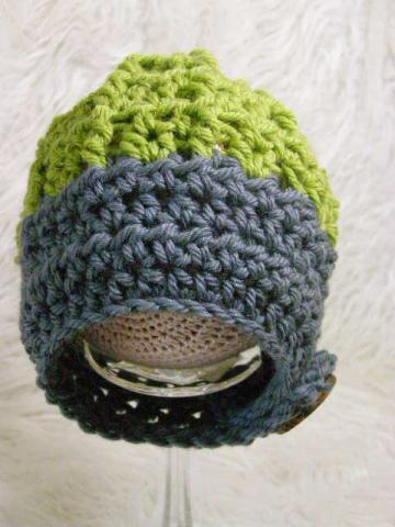 Newborn Boys Grey and Moss Strap Hat