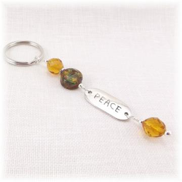 Gold Bead Peace Key Ring