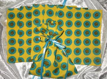 Turquoise Fun  / Set of 6  / Ribbon Tie Gift Bags / Great for Soaps / Candles / Jewelry / Lotions