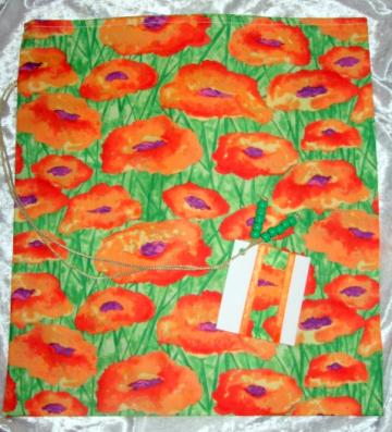 Feild of Poppy's   / Environmentally Friendly /  Fabric Tie Gift Bag / Any Occasion /  With Gift Tag