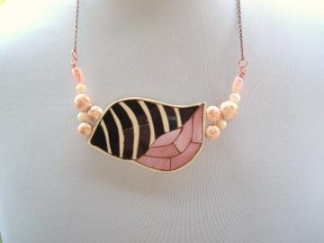 Pink Shell MOP Recycled Vintage Handmade Necklace