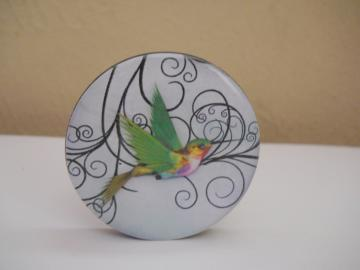 Humming Bird on Swirl Background No 2 Purse Key Clip Keychain